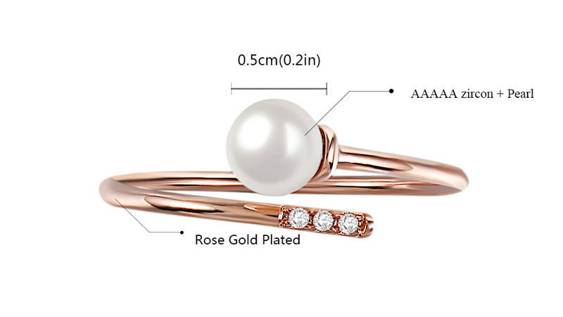 Stagger Openings Pearl Rose Gold Ring