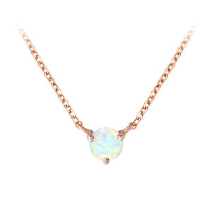 Three Paw Solitaire Opal Rose Gold Necklace