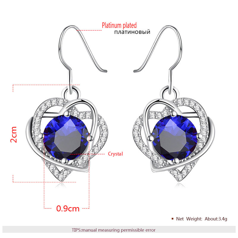 Double Heart Winding Round Sapphire Set - Earrings