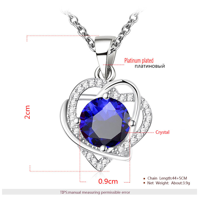 Double Heart Winding Round Sapphire Set - Necklace