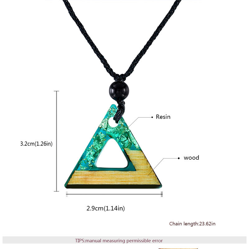 Triangle Green Resin & Wood Silver Foil Necklace
