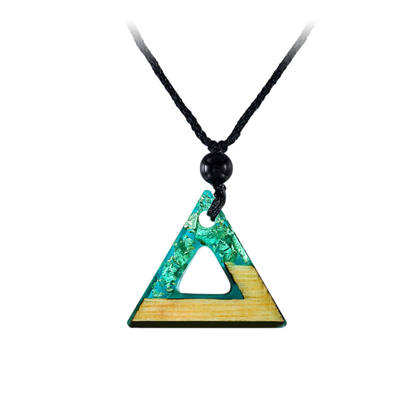 Triangle Green Resin Silver Foil Necklace