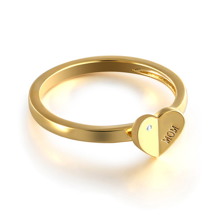 Ins Style 18K Gold Heart-shaped Ring