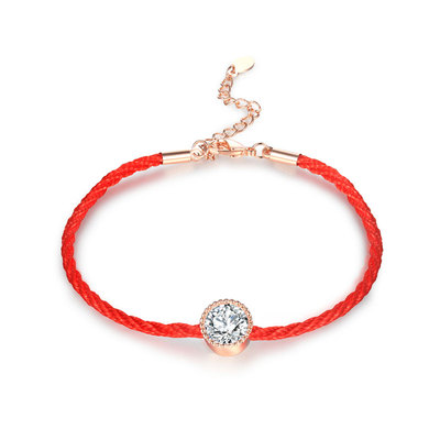 Red Cord Solitaire Diamond Bracelet