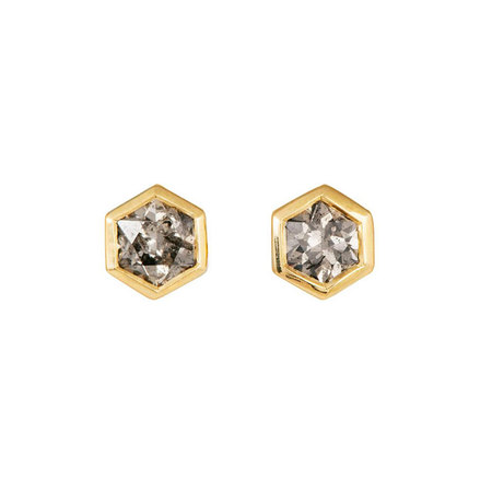 Six Edge Black Diamond Stud Earrings