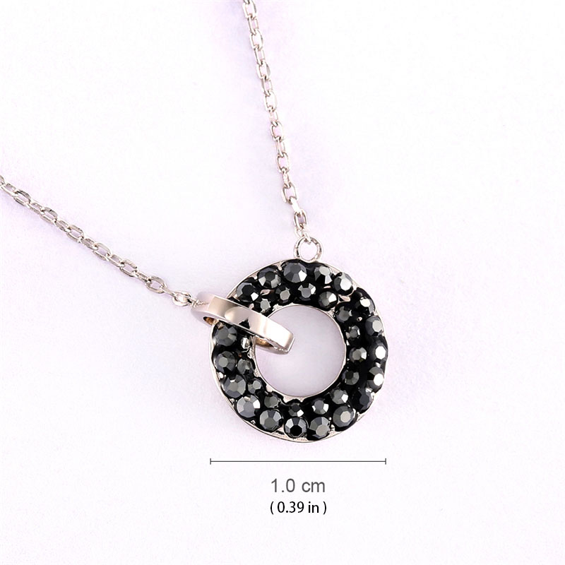 Vintage Circle 925 Sterling Silver Pendant Necklace