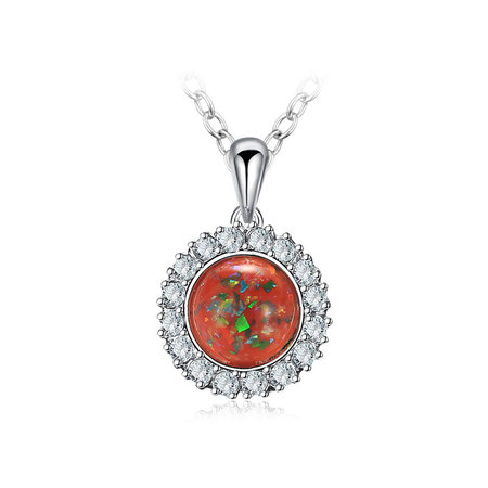 Red Fossil Opal White Gold Necklace