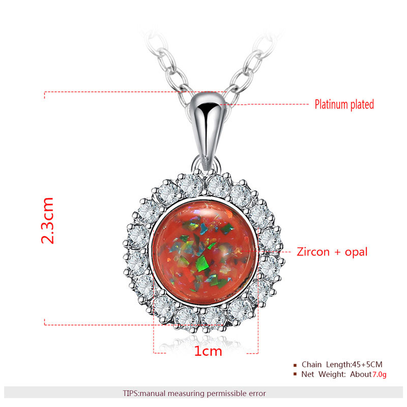 Red Fossil Opal Pendant White Gold Halo Necklace