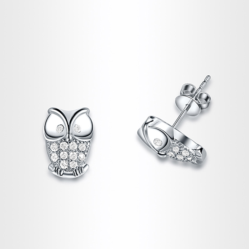 Hearts and Arrows Owl Stud Earrings