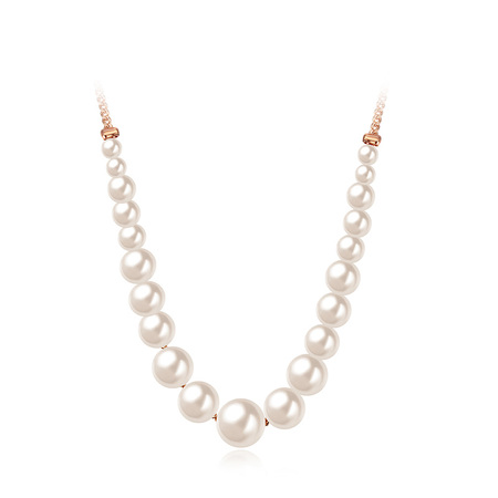White Pearl and Rose Gold Chain Linked Necklace