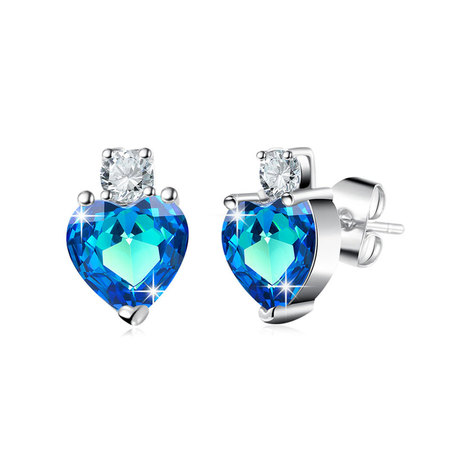 Heart Sapphire White Gold Stud Earrings