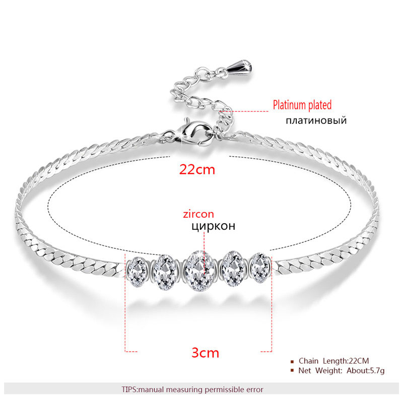 Five Oval Diamond White Gold Link Bracelet