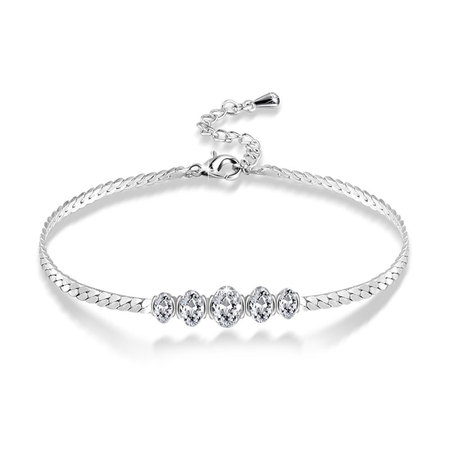Five Oval Diamond Link Bracelet