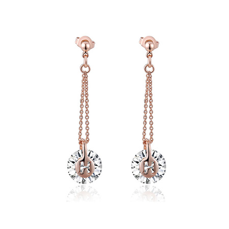 H Round Zirconia Drop Earrings