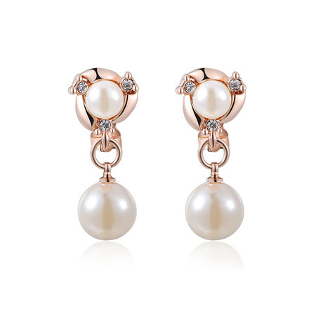 Double Pearl Earrings - Rose
