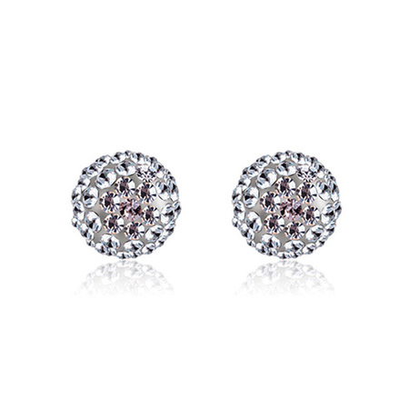 Sterling Silver Diamond Ball Earrings