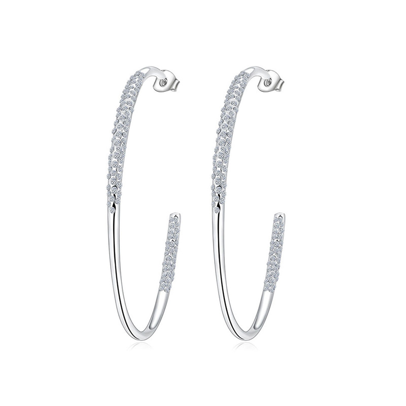 C-Shape White Gold Stud Earrings