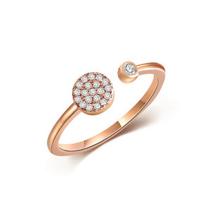 Modern Disc Rose Gold Diamond Ring