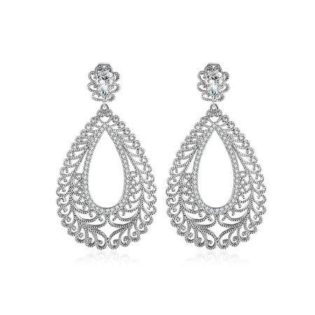 Waterdrop Cut Out Flower Drop Earrings