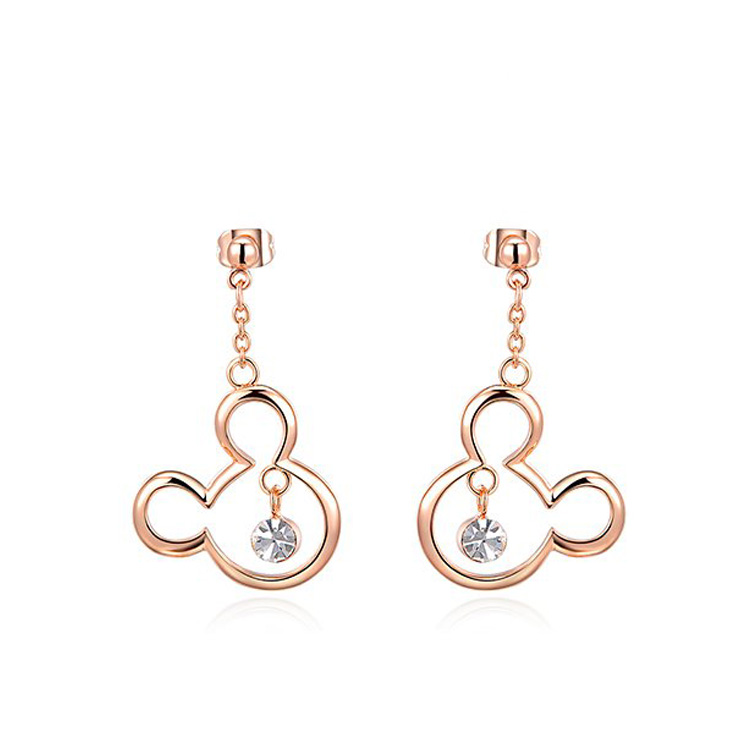 Mickey Rose Gold Drop Earrings