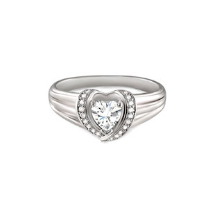 Ribbon Heart Diamond White Gold Ring