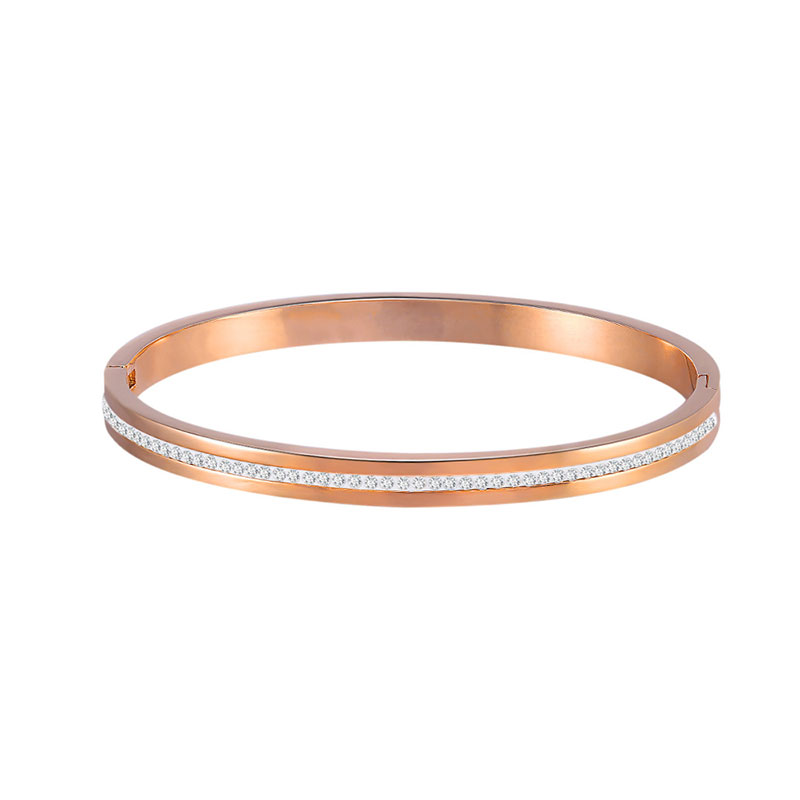 Concise Single Row Diamond Rose Gold Bangle