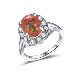 Red Fossil Opal White Gold Ring