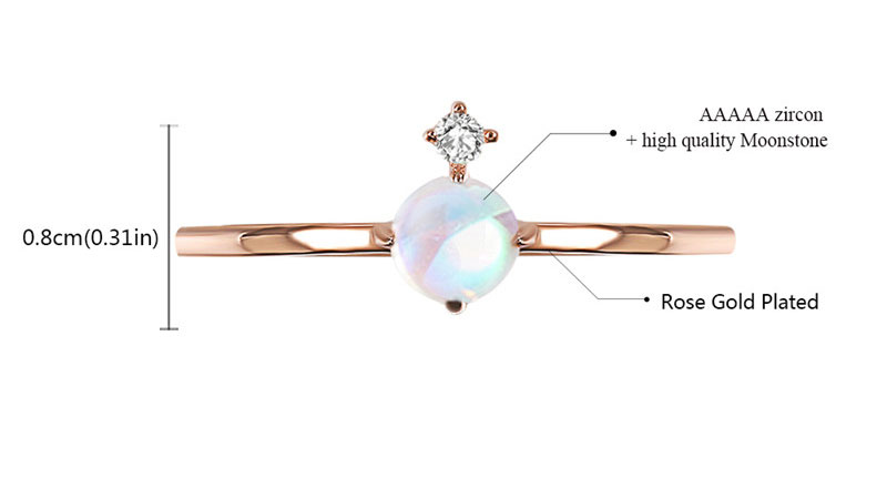 Concise Style Moonstone & Diamond Rose Gold Ring