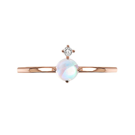 Concise Style Moonstone & Diamond Ring