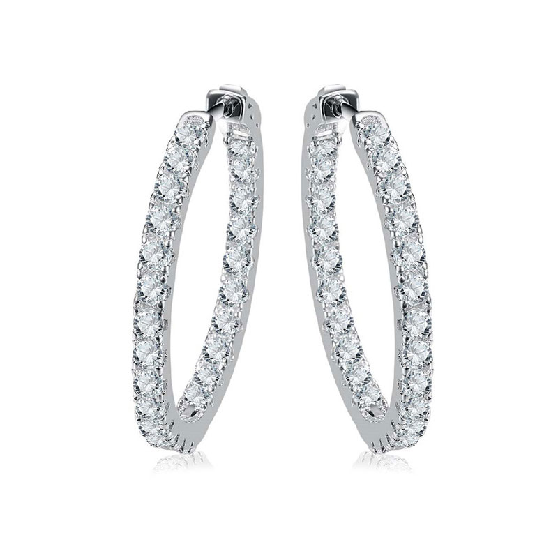 Inside & Outside White Gold Hoop Earrings