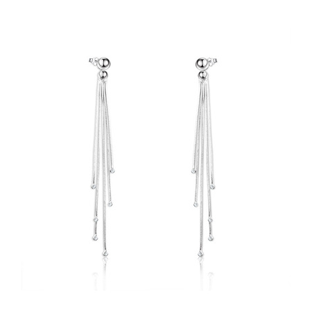 Multi-Wire White Gold Tassel Earrings