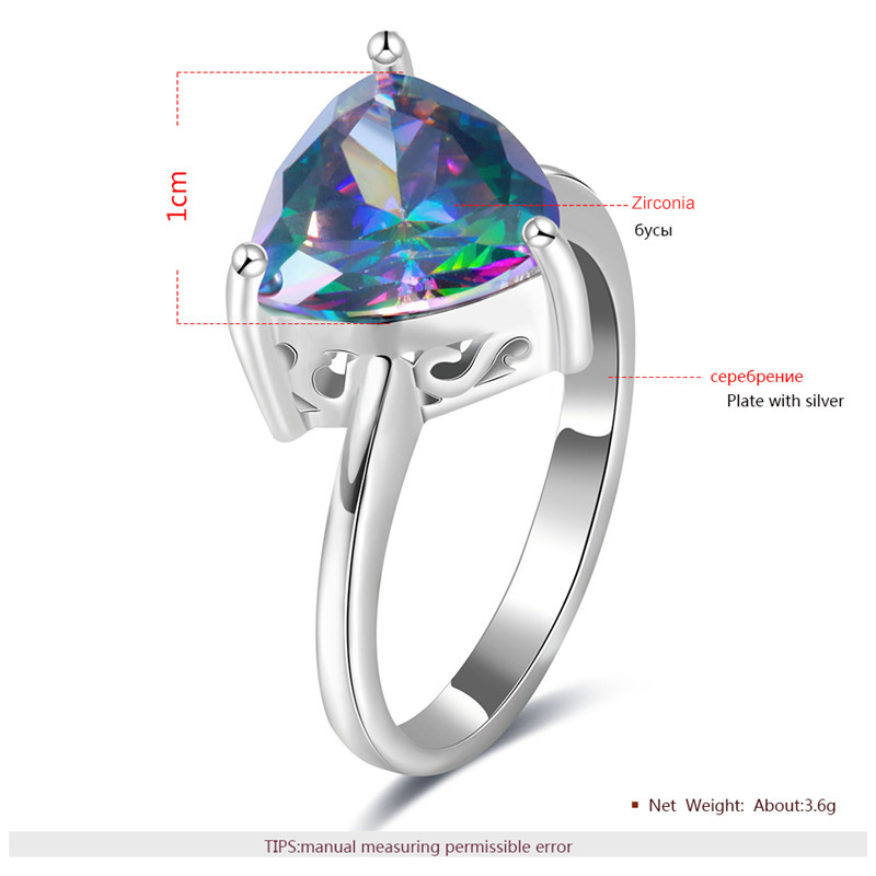 Solitaire Colored Triangular Diamond Silver Ring