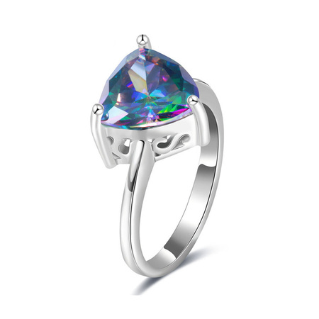 Colored Triangular Diamond Ring