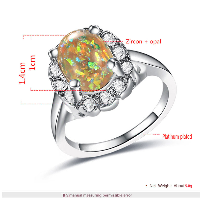 Yellow Fossil Opal White Gold Halo Ring
