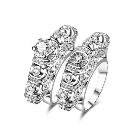 Air Fan Diamond Couple Rings
