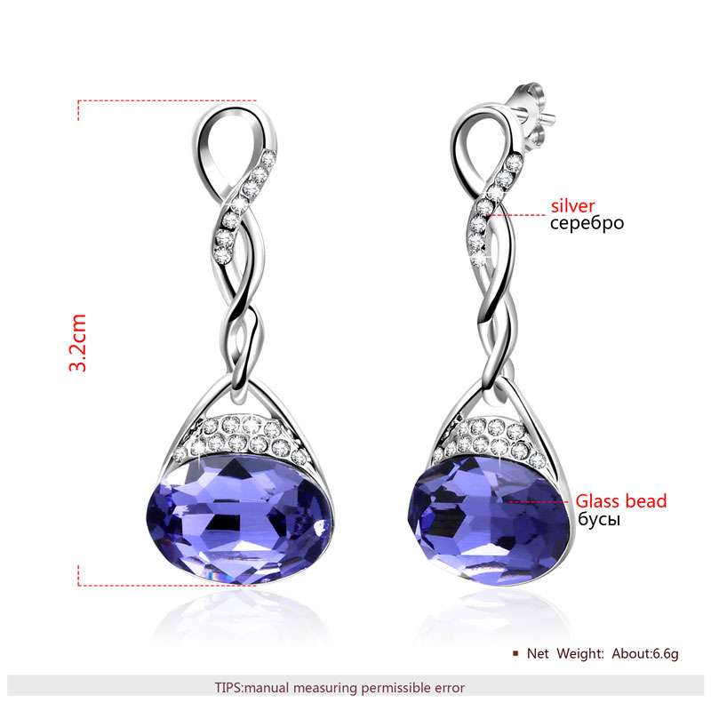 Shining Silver Sapphire Twist Set - Earrings