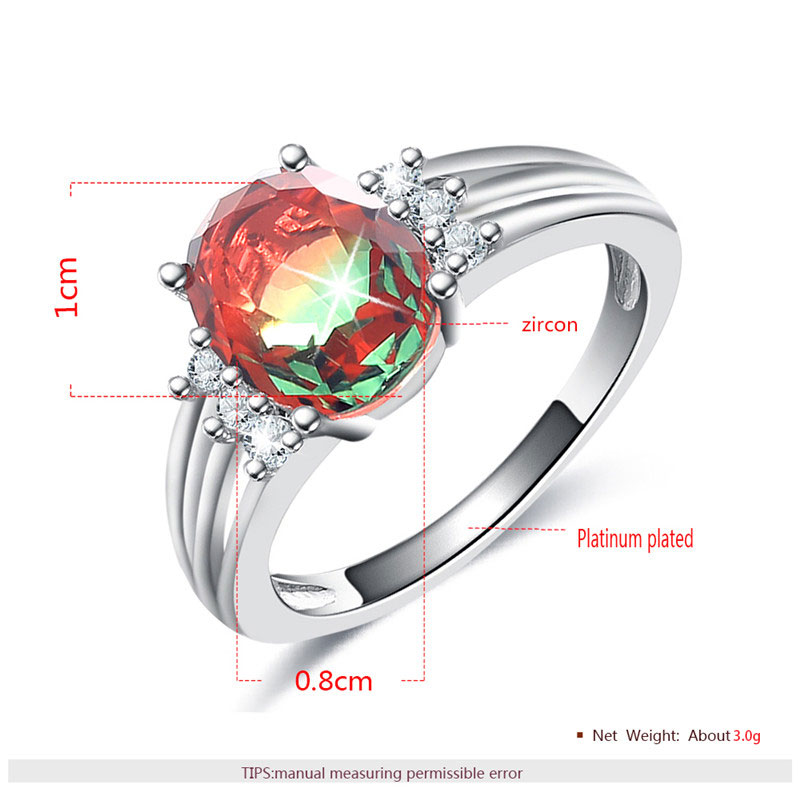 Colorful Oval Tourmaline White Gold Ring