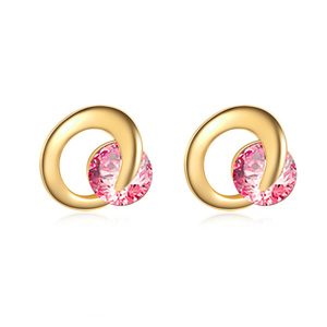 Crescent Pink Diamond 18K Gold Stud Earrings