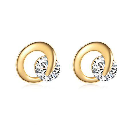 Crescent 18K Gold Stud Earrings - White