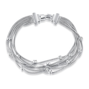Multi Wire White Gold Bracelet