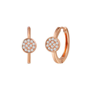 Modern Disc Rose Gold Diamond Earrings