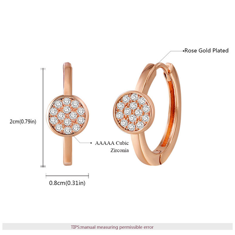 Modern Disc Rose Gold Diamond Hoop Earrings