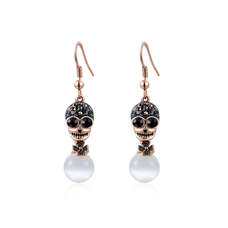 Skull Opal Drop Earrings