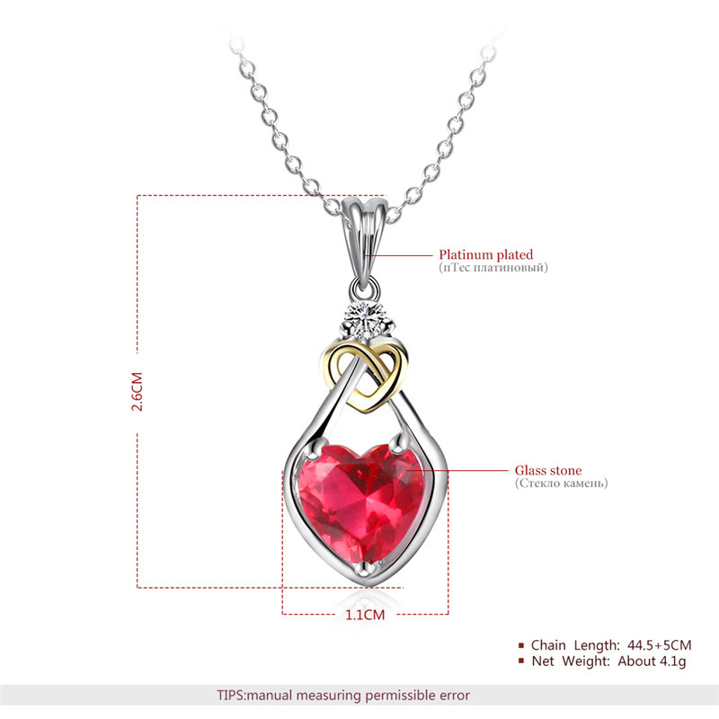Heart Ruby Valentine Two-Tone Necklace