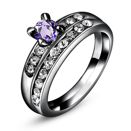 Gun Black Amethyst Wedding Ring Set