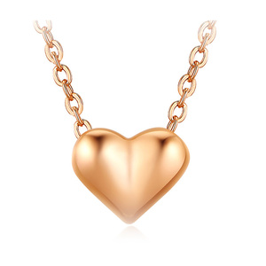 Fine Concise Rose Gold Heart Necklace