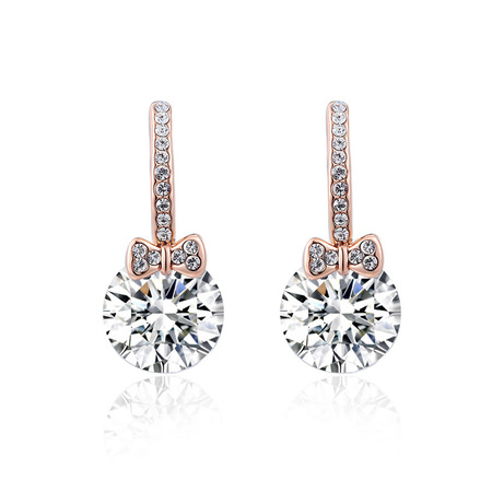 Bowknot Zirconia Drop Earrings