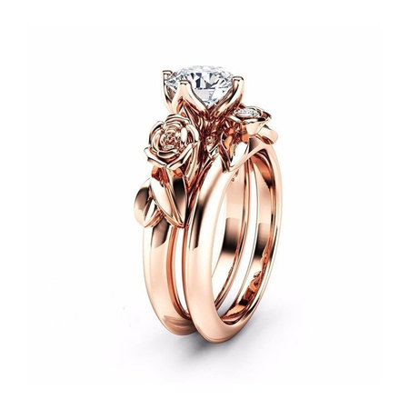 Rose Gold Rose Round Diamond Ring Set