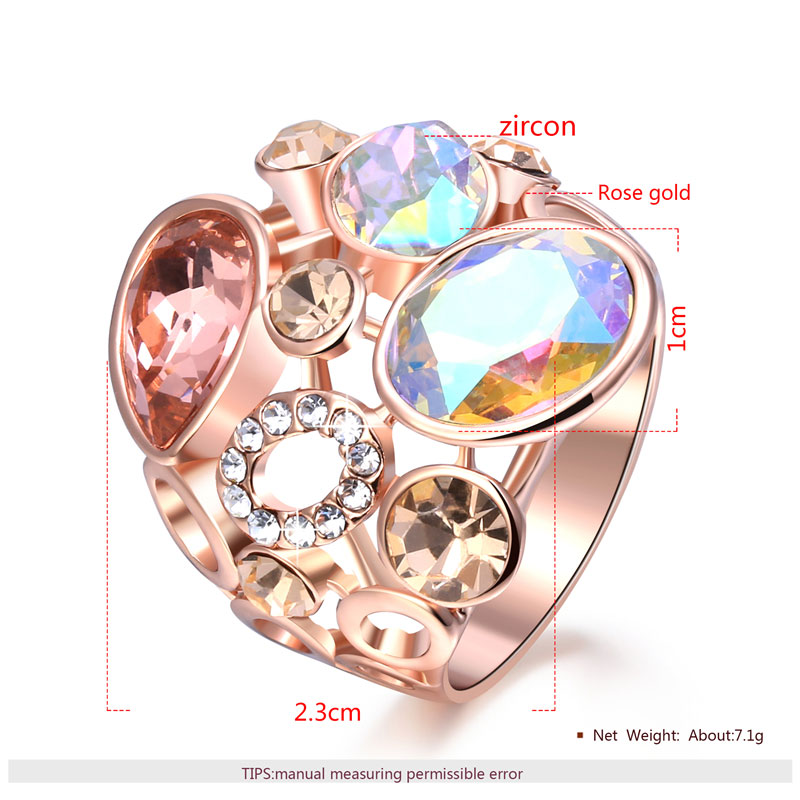 Multiple Shapes & Multicolor Diamond Rose Gold Ring