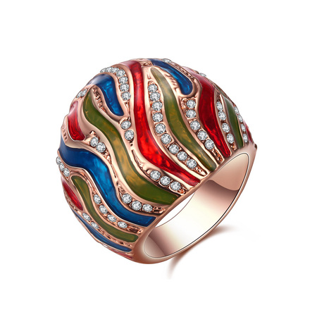 Colorful Magma Enamel Rose Gold Ring